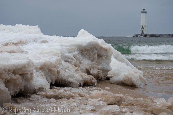 shore ice and Frankfort Lighthouse
